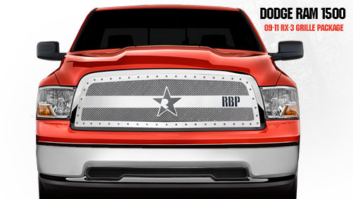 Dodge Ram 1500 2009-2011 - Rbp Rx-3 Series Studded Frame Main Grille Chrome 1pc