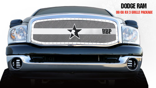 Dodge Ram 1500/2500/3500 2006-2008 - Rbp Rx-3 Series Studded Frame Main Grille Chrome 1pc