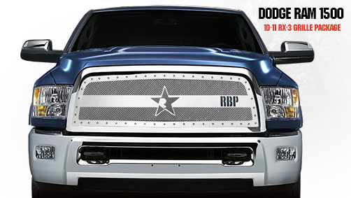 Dodge Ram 2500/3500 2010-2011 - Rbp Rx-3 Series Studded Frame Main Grille Chrome 1pc