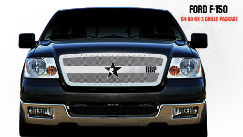 Ford F150 (except Harley Edition) 2004-2008 - Rbp Rx-3 Series Studded Frame Main Grille Chrome 1pc