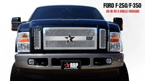 Ford Super Duty (except Harley Edition) 2008-2010 - Rbp Rx-3 Series Studded Frame Main Grille Chrome 3pc