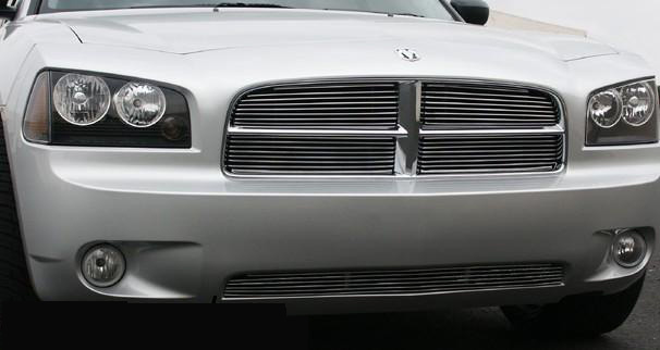 Dodge Charger 2005-2007 Polished Horizontal Billet Upper Main Grill