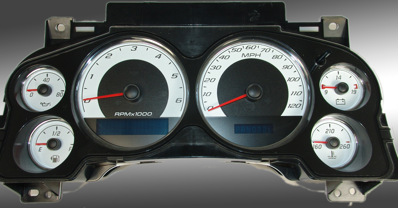 Chevrolet Avalanche 2007-2009  White / Blue Night Performance Dash Gauges