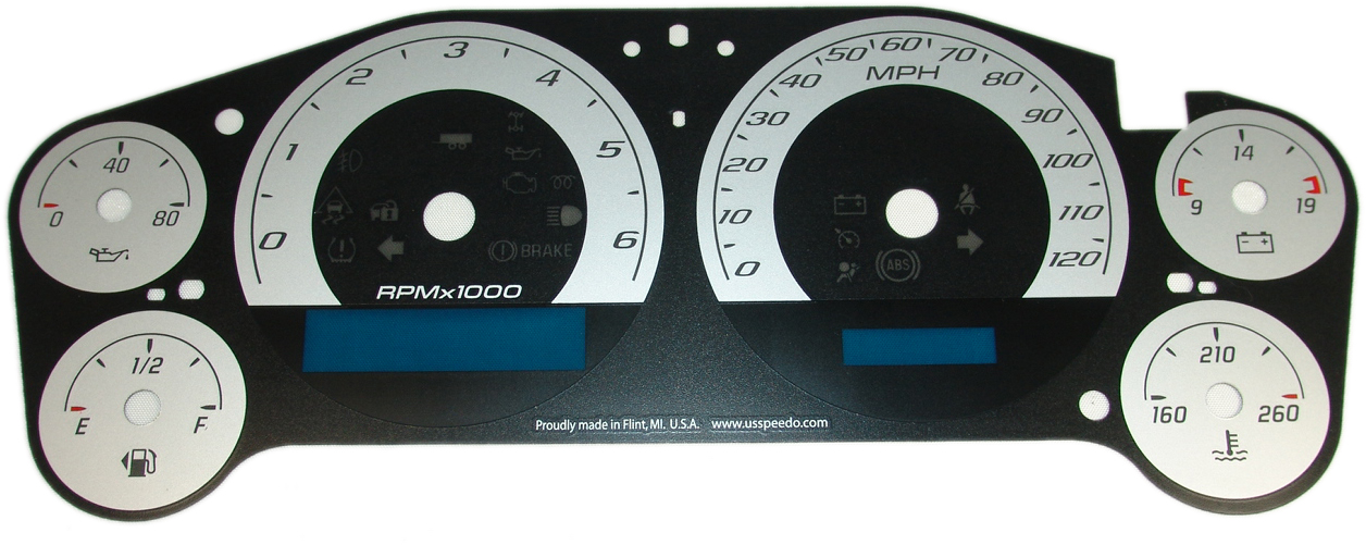 Chevrolet Avalanche 2007-2009  Silver / Blue Night Performance Dash Gauges