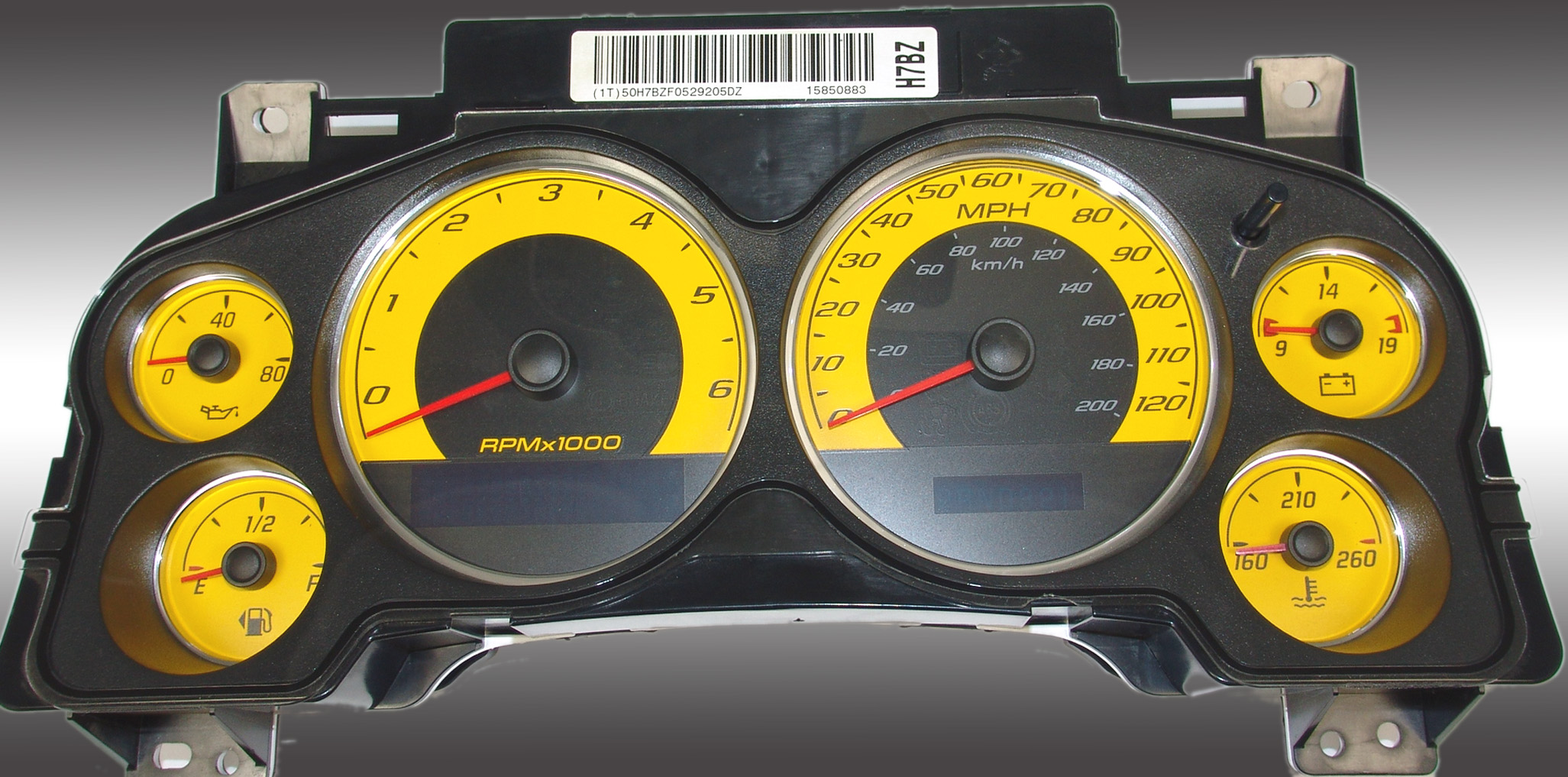 Chevrolet Avalanche 2007-2009  Yellow / Blue Night Performance Dash Gauges
