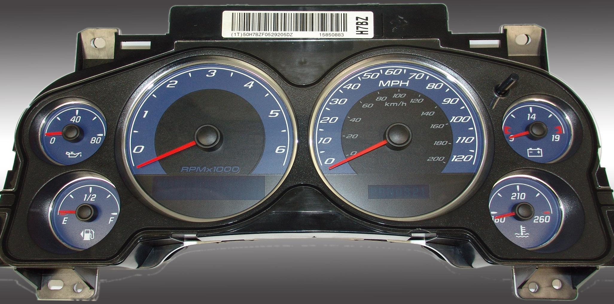 Chevrolet Silverado 2007-2009  Blue / Blue Night Performance Dash Gauges