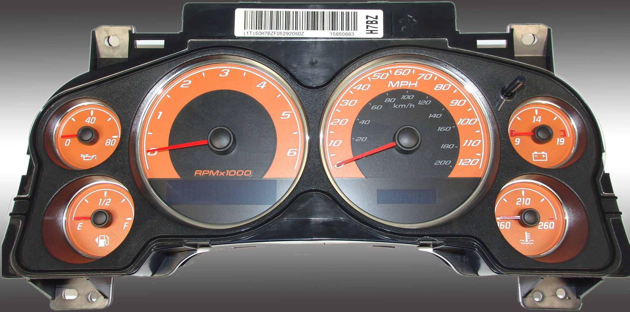 Chevrolet Avalanche 2007-2009  Orange / Blue Night Performance Dash Gauges