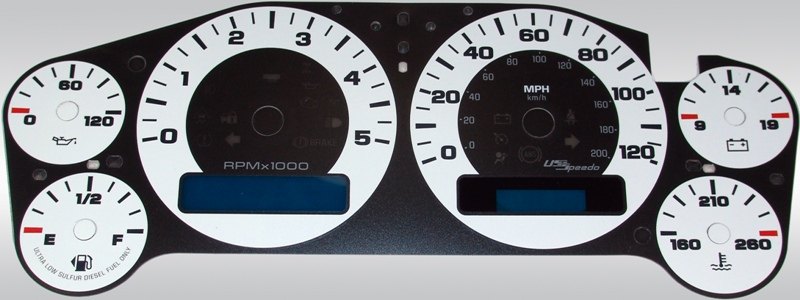Gmc Sierra 2007-2009 Hd White / Blue Night Performance Dash Gauges