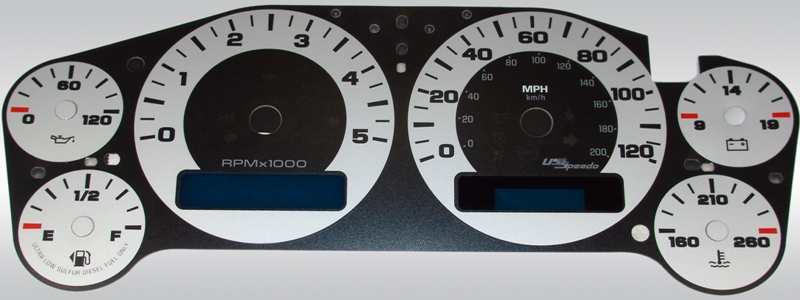 Chevrolet Silverado 2007-2009 Hd Silver / Blue Night Performance Dash Gauges