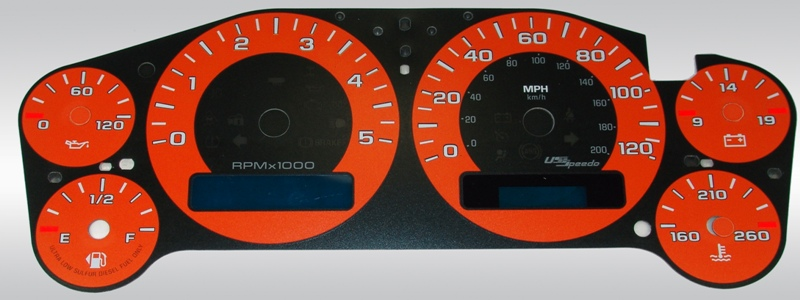 Gmc Sierra 2007-2009 Hd Orange / Blue Night Performance Dash Gauges