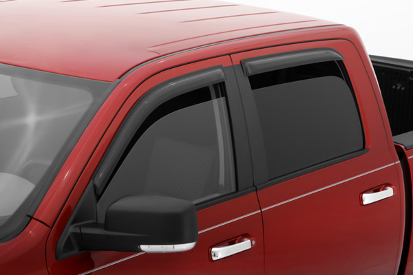 Dodge Ram 1500 Crew Cab 2009-2012 Ventvisor Front & Rear Wind Deflectors (black)