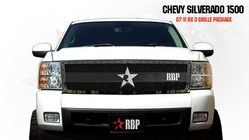 Chevrolet Silverado 1500 2007-2011 - Rbp Rx-3 Series Studded Frame Main Grille Black 1pc