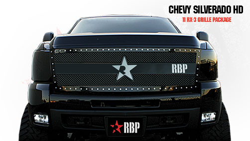 Chevrolet Silverado 2500hd/3500hd 2011-2012 - Rbp Rx-3 Series Studded Frame Main Grille Black 1pc