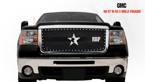Gmc Sierra 2500hd, 3500 2007-2010 - Rbp Rx-3 Series Studded Frame Main Grille Black