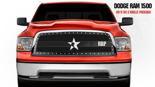 Dodge Ram 1500 2009-2011 - Rbp Rx-3 Series Studded Frame Main Grille Black 1pc