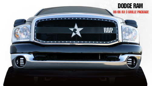 Dodge Ram 1500/2500/3500 2006-2008 - Rbp Rx-3 Series Studded Frame Main Grille Black 1pc