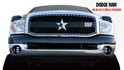 Dodge Ram 1500/2500/3500 2006-2008 - Rbp Rx-3 Series Studded Frame Main Grille Black 1pc