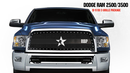 Dodge Ram 2500/3500 2010-2011 - Rbp Rx-3 Series Studded Frame Main Grille Black 1pc