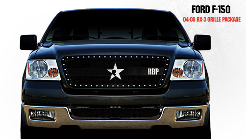 Ford F150 (except Harley Edition) 2004-2008 - Rbp Rx-3 Series Studded Frame Main Grille Black 1pc