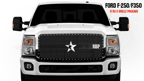 Ford Super Duty (except Harley Edition) 2011-2012 - Rbp Rx-3 Series Studded Frame Main Grille Black 1pc