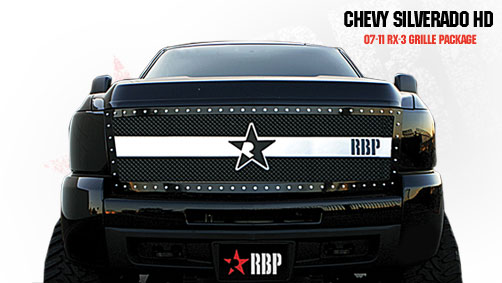 Chevrolet Silverado 2500hd/3500hd 2007-2010 - Rbp Rx-3 Series Studded Frame Main Grille Black/Chrome 1pc
