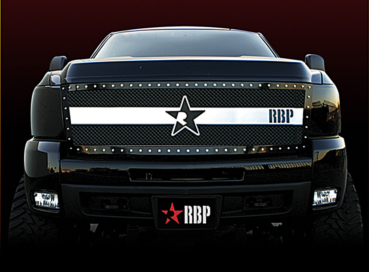 Chevrolet Silverado 2500hd/3500hd 2011-2012 - Rbp Rx-3 Series Studded Frame Main Grille Black/Chrome 1pc