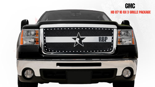 Gmc Sierra 2500hd, 3500 2007-2010 - Rbp Rx-3 Series Studded Frame Main Grille Black/Chrome