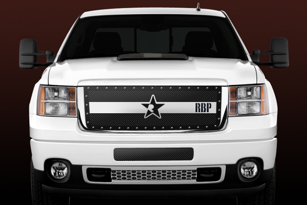 Gmc Sierra 2500hd, 3500 (except Denali) 2011-2012 - Rbp Rx-3 Series Studded Frame Main Grille Black/Chrome 3pc