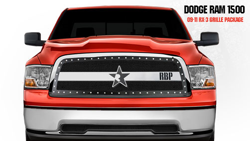 Dodge Ram 1500 2009-2011 - Rbp Rx-3 Series Studded Frame Main Grille Black/Chrome 1pc