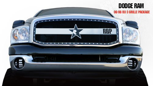 Dodge Ram 1500/2500/3500 2006-2008 - Rbp Rx-3 Series Studded Frame Main Grille Black/Chrome 1pc