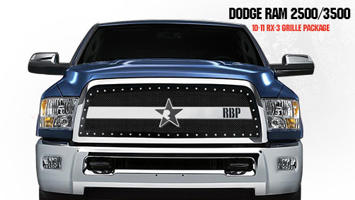 Dodge Ram 2500/3500 2010-2011 - Rbp Rx-3 Series Studded Frame Main Grille Black/Chrome 1pc