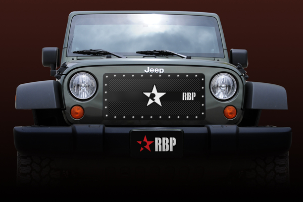 Jeep Wrangler  2007-2011 - Rbp Rx Series Studded Frame Main Grille Black 1pc