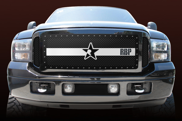 Ford Super Duty (except Harley Edition) 2005-2007 - Rbp Rx-3 Series Studded Frame Main Grille Black/Chrome 3pc