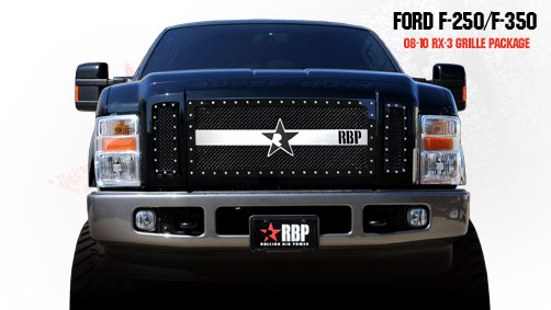 Ford Super Duty (except Harley Edition) 2008-2010 - Rbp Rx-3 Series Studded Frame Main Grille Black/Chrome 3pc