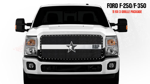 Ford Super Duty (except Harley Edition) 2011-2012 - Rbp Rx-3 Series Studded Frame Main Grille Black/Chrome 1pc