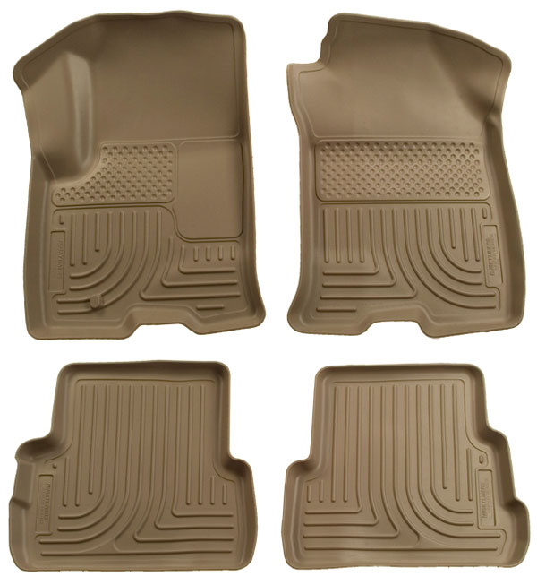 Ford Super Duty 2011-2012 F-450,  Husky Weatherbeater Series Front & 2nd Seat Floor Liners - Tan