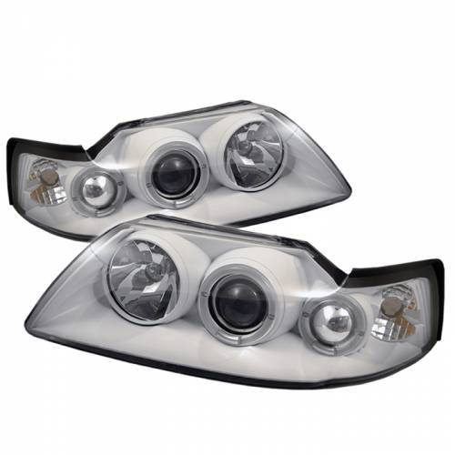 Ford Mustang 1999-2004 White Housing Dual Halo Projector Headlights