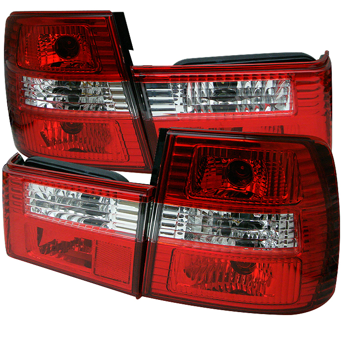 Bmw 5 Series 1988-1995  Red Clear Euro Style Tail Lights