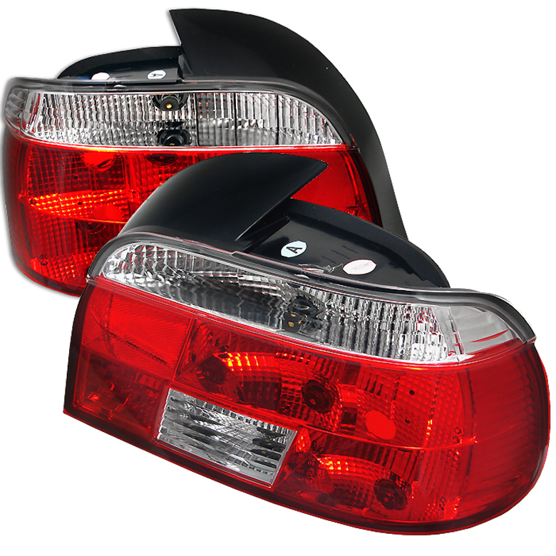 Bmw 5 Series 1997-2000  Red Clear Euro Style Tail Lights