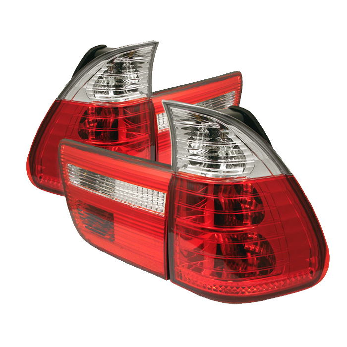 Bmw X5 2000-2005  Red Clear Euro Style Tail Lights