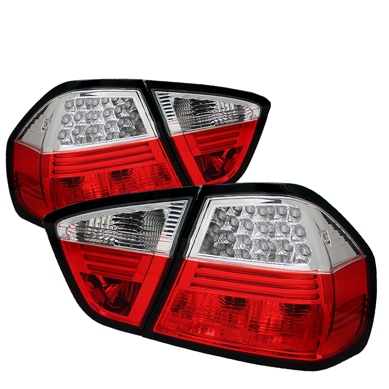 Bmw 3 Series 2006-2008 4dr Red Clear LED Tail Lights