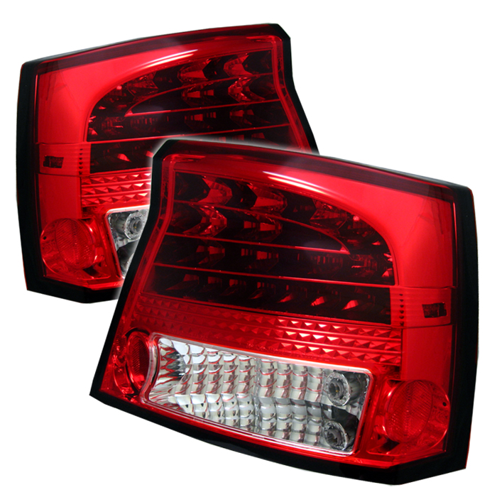 Dodge Charger 2005-2010  Red Clear LED Tail Lights