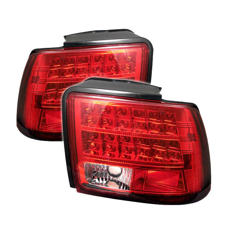 ford mustang 1999 2004 red clear led tail lights by spyder. Black Bedroom Furniture Sets. Home Design Ideas