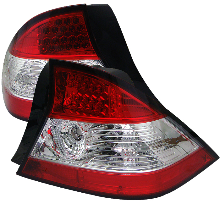Honda Civic 2004-2005 2dr Red Clear LED Tail Lights