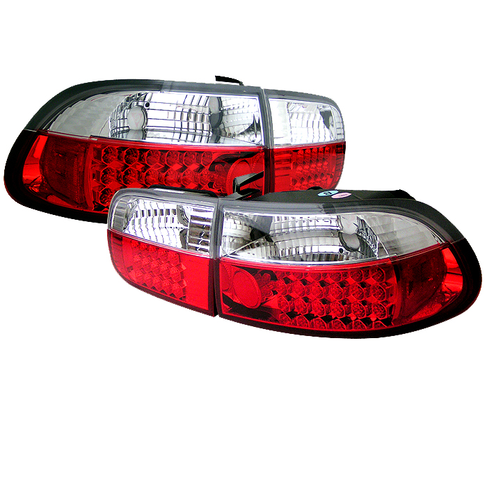 Honda Civic 1992-1995 2/4dr Red Clear LED Tail Lights