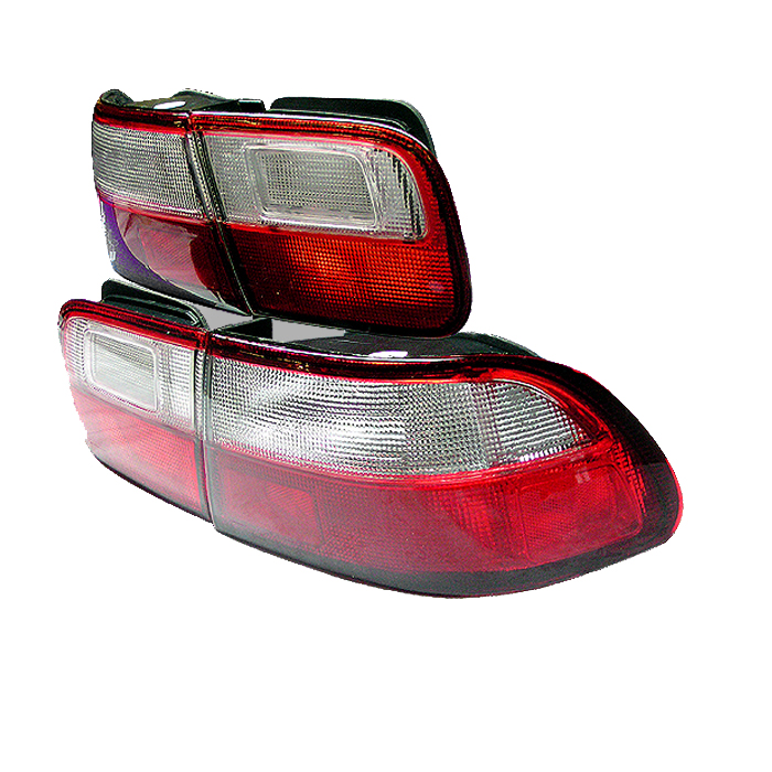Honda Civic 1992-1995 2/4DR Red Clear Euro Style Tail Lights