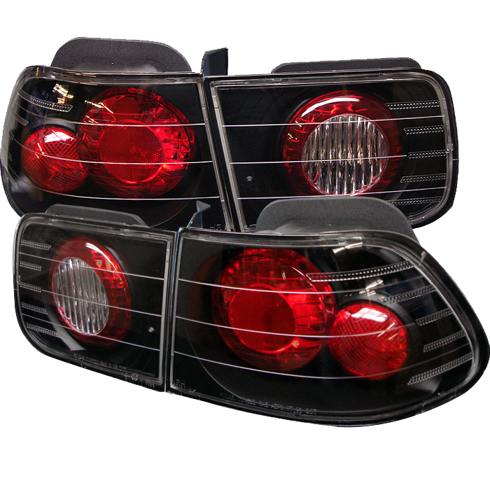 Honda Civic 1996-2000 2DR Black Euro Style Tail Lights