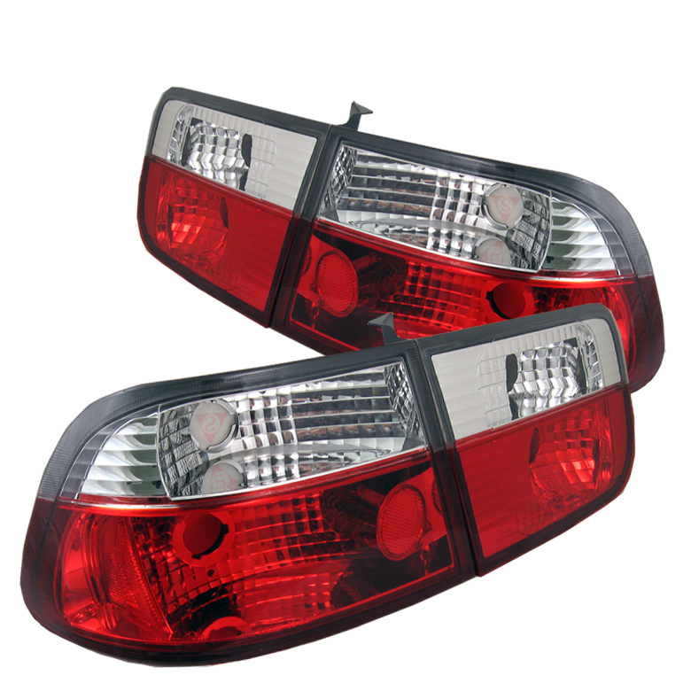 Honda Civic 1996-2000 2DR Red Clear Euro Style Tail Lights