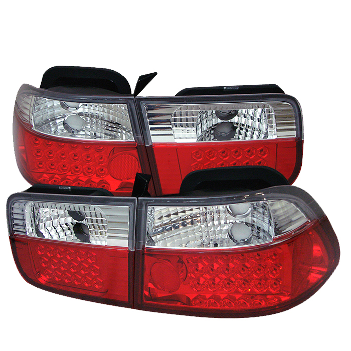 Honda Civic 1996-2000 2dr Red Clear LED Tail Lights