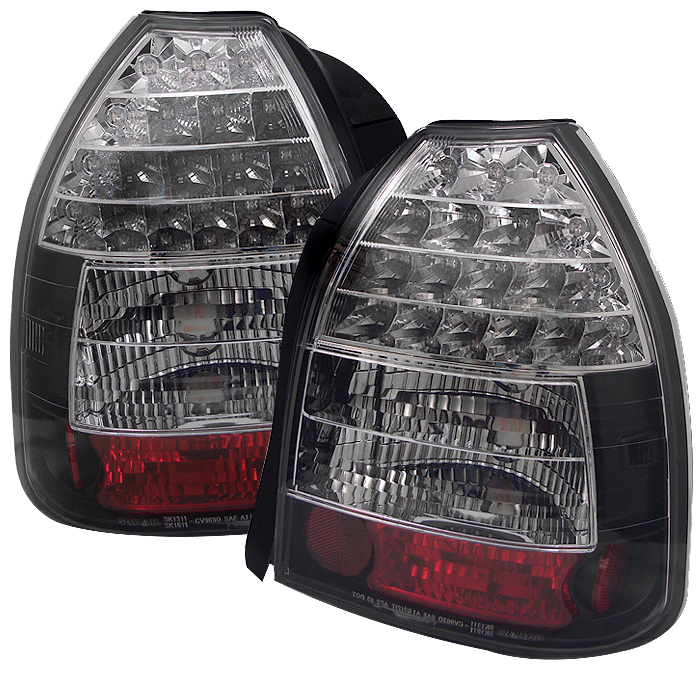Honda Civic 1996-2000 3dr Black LED Tail Lights